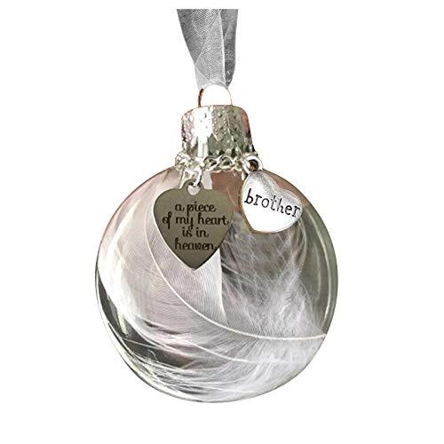 Decoración y colgado, bola de plumas – Un pedazo de mi corazón está en Heave adorno conmemorativo, para Navidad hogar y jardín, (B)