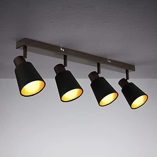 IMPTS Lámpara de techo textil negra, 4 focos, con pantalla de tela, lámpara de techo con focos ajustables, foco con pantallas de tela en diseño retro y vintage, incluye bombilla E14