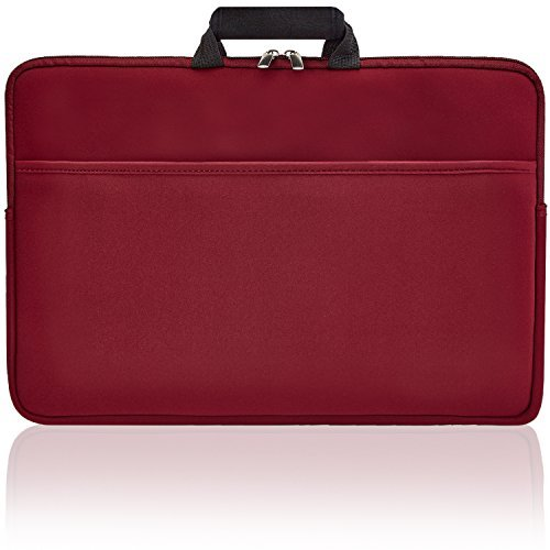 Second Skin 17' Laptop Sleeve Waterproof Laptop Bag, Protective Drop-proof Case for Macbooks, Notebooks, or Ultrabooks, Slim with Handles & Extra Storage Pocket Wine