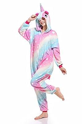 Bonitos monos de unicornio con forro polar para pijama, sin insomnio, para Halloween, Navidad, Carnaval, fiestas, cosplay, disfraces para niños y adultos Cremallera de estrella. S