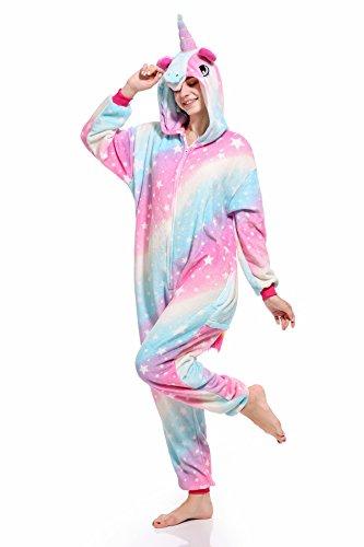 Mystery&Melody Unicornio Pijamas Cosplay Unicorn Disfraces Animales Franela Monos Unisex-Adulto Ropa de Dormir Disfraces de Fiesta (S, Sky-Unicorn)