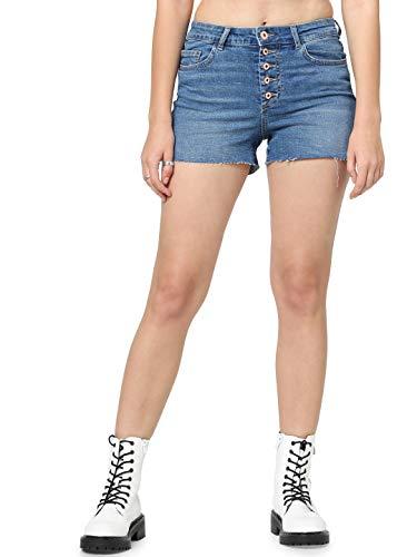 ONLY Dames Onlhush Hw Button Box Jeans Short