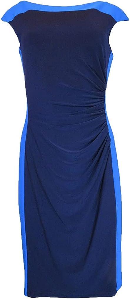 Lauren Ralph Lauren Colorblock Sheath Dress, Size-10 Navy/Blue