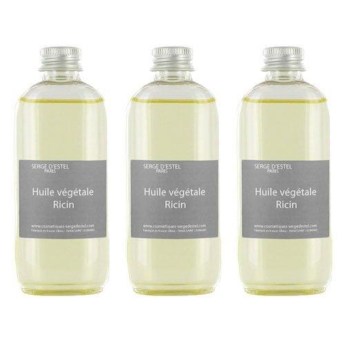 Huile de Ricin 100ml x3 100% Pure Pharmacopée Aide à la Repousse des Cheveux et Barbe Renforce les Ongles et les Cils Huile de Soin Cheveux Frisés Cheveux Crépus Non Testé sur les Animaux.