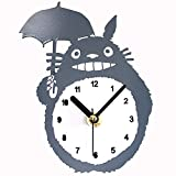 YSpring Cute Totoro Fridge Clock Fashion Anime Design Grey Refrigerator Magnetic Wall Clocks(Battery is not Included)