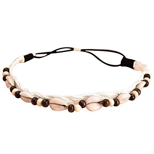 Women Headbands, Bohemian Non-slip Elastic Sea Shell Beads Headband Hair Band for Summer Beach White