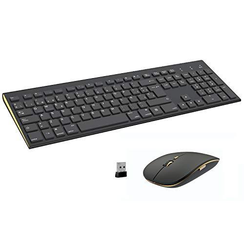 FENIFOX Teclado y Raton inalambrico, diseño ergonómico 2,4 G Teclado inalámbrico y ratón Combinado USB para PC de Escritorio, Mac OS Windows Linux (Black)