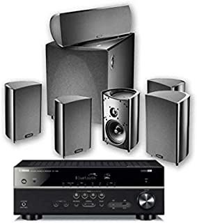 Yamaha Definitive Technology PC600 RX V385 Receiver, Black + DT PRO Cinema 600-6 piece 5.1 Channel Home Theater Speaker Sy...