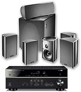 جهاز استقبال Yamaha Definitive Technology PC600 RX V385، أسود + DT PRO Cinema 600-6 قطعة 5.1 قناة نظام مكبر صوت المسرح الم...