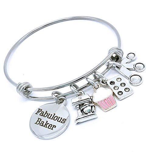 Fabulous Baker, Cute Baking Gifts, Baking Jewelry, Gifts For Baking, Cupcake Bangle Bracelet