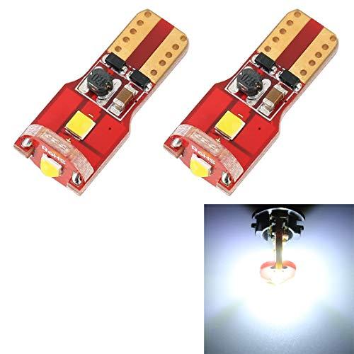 2 PCS Coche LED Light BUILLBS Coche Tablero Rojo Light T10 / W5W / 168 Minutos DE 194 DC12V / 1.6W / 6000K / 130LM 3LEDS SMD-3030 (luz Blanca)