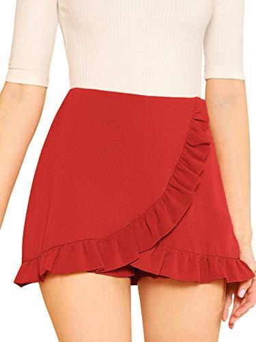 SheIn Women's Mid Waist Ruffle Wrap Skorts Asymmetrical Plain Skirt Shorts Medium Red