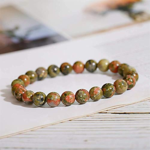 Plztou Stone Bracelet Women,7 Chakra 8Mm Natural Bloodstone Beads Elastic Bangle Pray Jewelry Yoga Energy Balance Reiki Charm Diffuser Gift For Friend,Couple