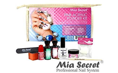 MIA SECRET PINK ACRYLIC POWDER PROFESSIONAL FULL NAIL KIT - 05, Contents: Liquid Monomer, Pink Powder, Primer, Nail Glue, Top Coat, 20 Nail tips, Nail Brush, Emery Block, Nail File