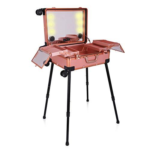 HUATINGRHBO Cosmetic Box, Beauty Rolling Case con Ruedas universales Maquillaje Organizador Profesional Multifuncional con luz LED, Gold