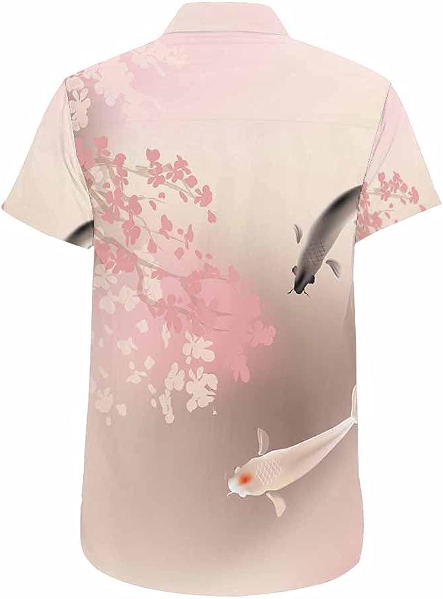 InterestPrint Japanese Cute Men's Hawaiian Shirts Short Sleeve Button Down Beach Shirts