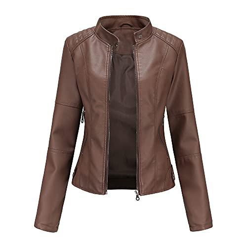 JINGXU Chaqueta de piel sintética para mujer, ajuste delgado, adecuado para abrigos de otoño, motociclismo, chaqueta de cuello alto de talla grande