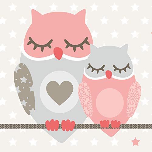 Anna Wand Bordüre selbstklebend OWL Stars Girls - Wandbordüre Kinderzimmer/Babyzimmer mit Eulen & Sternen in Rosa-Taupe - Wandtattoo...