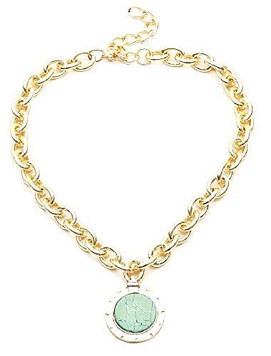 Vrouwelijke ketting - etnische vrouw - ketting - tribal - turquoise steen - groot - antiek - aderen - grote ketting - vintage - origineel cadeau-idee - goud - verjaardag - kerstmis - sieraden