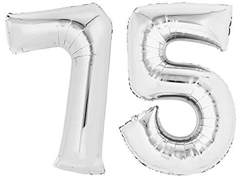 TopTen Folienballon Zahl 75 XL Silber ca. 70 cm hoch - Zahlenballon für Ihre Geburstagsparty, Jubiläum oder sonstige feierliche Anlässe (Zahl 75)