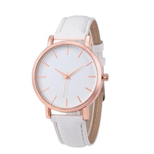 Bovake Mode Uhren Leder Edelstahl Männer Frauen Stahl Analog Quartz Armbanduhr (Weiß)