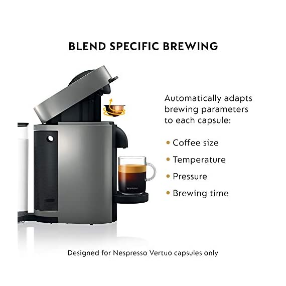 Nespresso VertuoPlus Coffee and Espresso Maker Bundle with Aeroccino Milk Frother by De'Longhi Red 8 Versatile automatic Coffee maker: brew different single-serve coffee cup sizes at the touch of a button depending on your coffee needs - Espresso (1. 35 oz. ), double Espresso (2. 7 oz. ), Gran Lungo (5 oz. ), Coffee (7. 7 oz. ) and alto (14 oz. ). Pour over ice to create your favorite Iced Coffee drinks. Designed for use with Espresso Vertuo capsules Smart Coffee maker: brew the perfect single-serve coffee or Espresso drink time after time, thanks to espresso's Centrifusion (TM) technology using barcodes to deliver the best in-cup results including the perfect crema for large Coffee cup sizes. Simply insert the capsule and enjoy freshly brewed Coffee or authentic Espresso. Single serve Coffee machine: have the ability to create Barista grade brewed single-serve coffee or Espresso cups at the touch of a single button. The one-touch button mechanism delivers the best in-cup result for whatever style coffee or Espresso drink you choose. Designed for use with Espresso Vertuo capsules only.