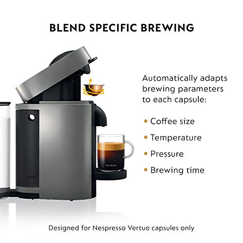 Nespresso VertuoPlus Coffee and Espresso Maker Bundle with Aeroccino Milk Frother by De'Longhi, Grey