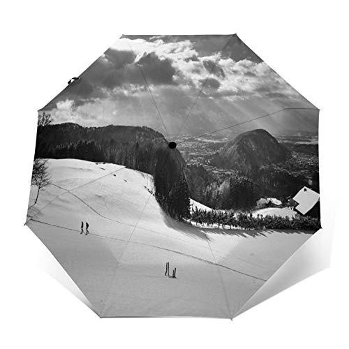 TISAGUER Regenschirm Taschenschirm,Künstlerische Schwarzweiss Fotografie Bild,schneebedeckte Berge,Kletterpflanzen,dunkle Wolken und Himmel,Auf Zu Automatik,windsicher,stabil