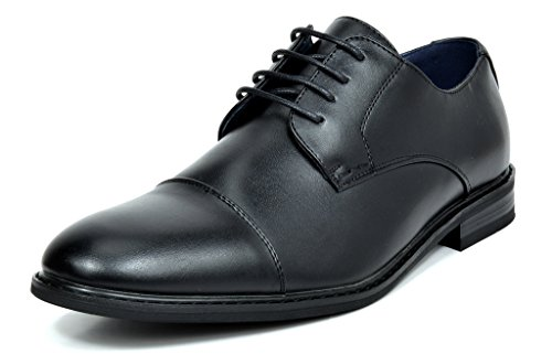 Bruno Marc Men's Prince-6 All Black Leather Lined Dress Oxfords Shoes Size 11 M US