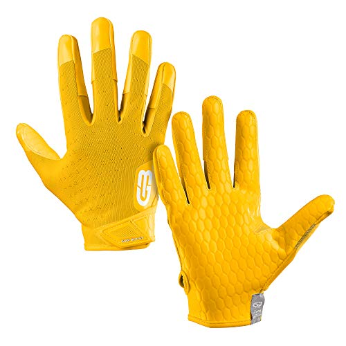 Grip Boost DNA Football Gloves with Engineered Grip - Adult Sizes (Adult X-Large, Yellow)