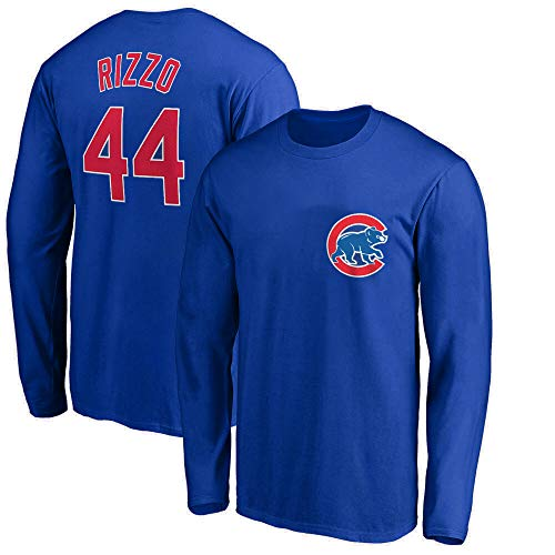 Outerstuff MLB Youth 8-20 Team Color Player Name and Number Long Sleeve Jersey T-Shirt (Large 14/16, Anthony Rizzo Chicago Cubs Blue)