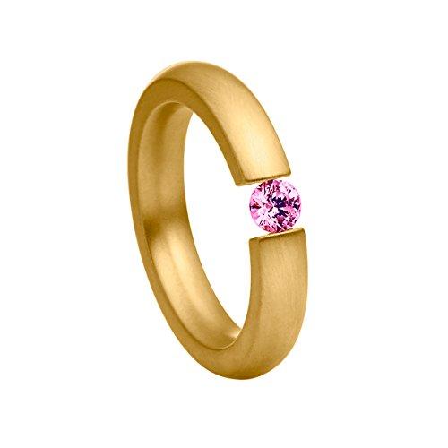 Heideman Ring Damen Spannring schmal aus Edelstahl Gold farbend matt Damenring für Frauen mit Swarovski Stein Zirkonia pink im Brillant Schliff 4mm