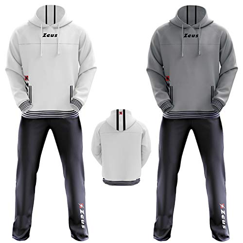 Zeus Herren Sportanzug Trainingsanzüge Running Laufen Training Sport Set Trikot Shirt Shorts Hosen TUTA CORTES (S, GRAU-BLAU)