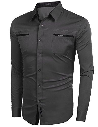 COOFANDY Herren Hemd Slim Fit Langarmhemd Freizeit Kentkragen Sommer Herren Hemden Business Party Shirt Für Männer Grau M - 2