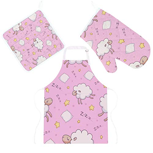Conjunto de 3 peças de avental de cozinha com isolamento térmico, luvas de forno para micro-ondas com suporte de panela e almofadas de ovelha rosa para decoração de cozinha, tapete protetor para grelhar e assar
