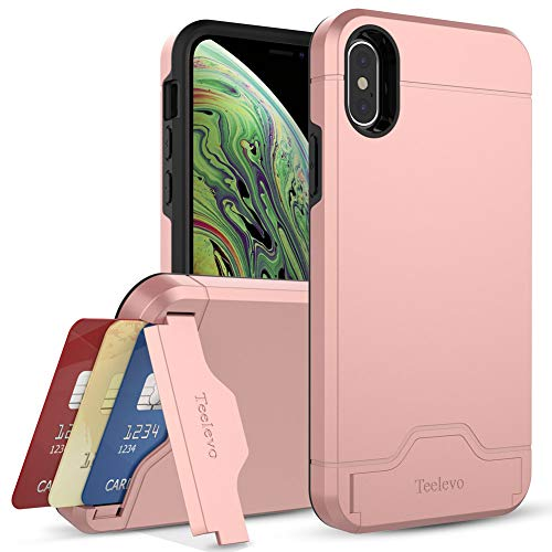 Teelevo Wallet Case for Apple iPhone Xs (2018) and iPhone X (2017) with Card Slot Holder and Kickstand - Rose Gold