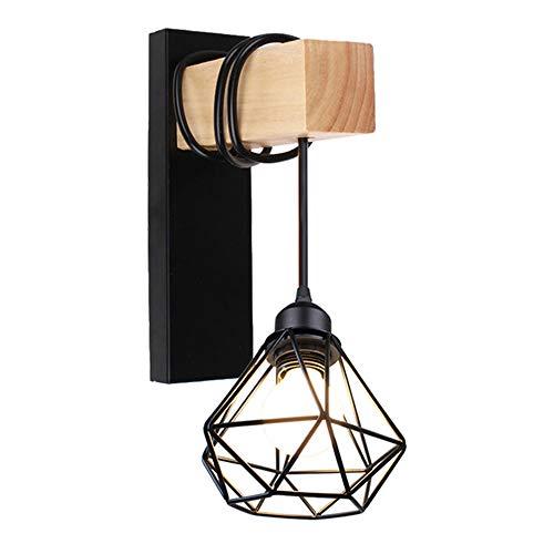 Osairous Applique in legno retrò, Lampada da parete E27, Lampada da comodino in gabbia di ferro, decorazione da parete regolabile per soggiorno, camera da letto