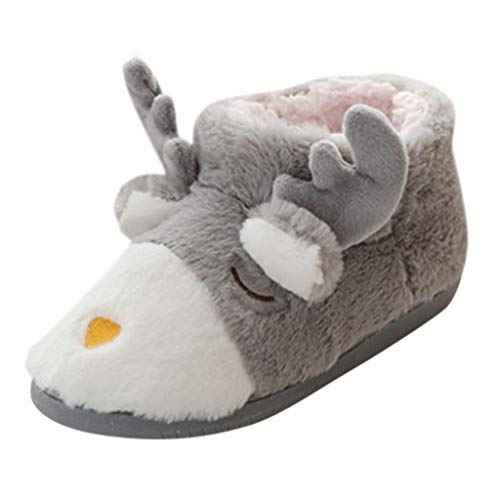 Pantuflas para niña, Botas de Navidad, Calcetines de algodón cálido, Botas Interiores de Felpa, Gris (Gris), 34/35 EU
