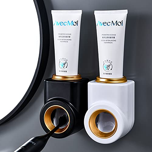 2 Pack Toothpaste Dispenser Wall Mount Toothpaste Squeezer Dispenser Automatic Hands Free Toothbrush Holder