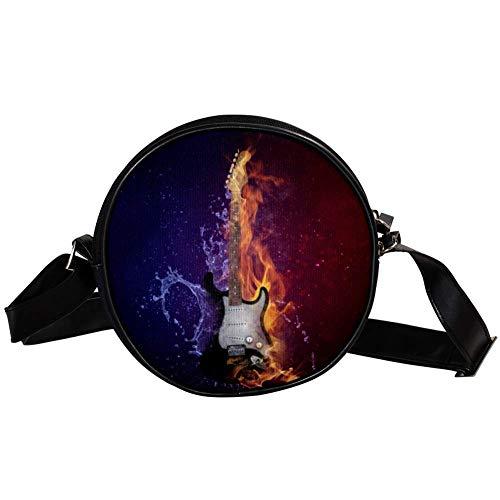 Bennigiry Umhängetasche für Damen, rund, mit Gitarre, Feuer- und Kaltdruck, Schultertasche