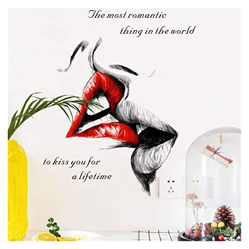 Pegatinas de Pared Murales Beso romántico Pegatinas de Pared Dormitorio Sala de Estar Pared Decoración de la Boda Pegatinas de la Puerta Moderno Arte Mural Pegatinas Pegatinas Arte de la Pared