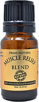 Prime Natural Muscle Relief Essential Oil Blend 10ml - Natural Pure Undiluted Therapeutic Grade for Aromatherapy Massage - Relieves Muscle Pain Spasms Stiffness Backache Sprained Sore Muscle