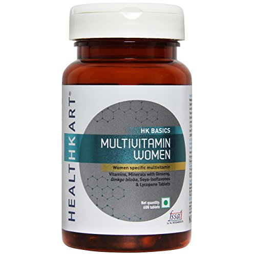 HealthKart Multivitamin with Ginseng Extract, Taurine and Multiminerals (Multivitamin Women, 60 capsules)