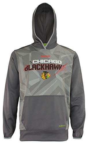 Reebok Chicago Blackhawks NHL Center Ice PlayDry Sweat-shirt pour adulte Gris