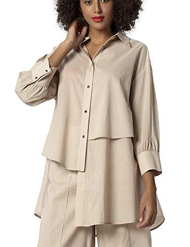 APART Damen Oversize Bluse in elegant lässigem Style, Nude, 38
