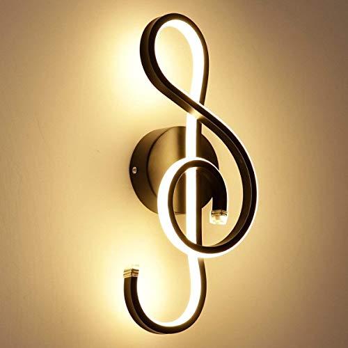 DKEE Notas Musicales LED Lámpara De Pared Negro Aluminio Acrílico Pasillo Dormitorio Cabecera Sala Comedor Restaurante Cafetería Decoración 22 W Luz Cálida Luces de Pared