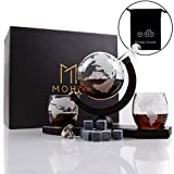 Moho Premium Whiskey Decanter Set   Handmade Globe Decanter Set With 2 Glasses   Ship In a Bottle   Perfect Gift   Man Cave Decor   Bourbon, Scotch   Glass Globe Tequila Decanter   Includes 9 Stones