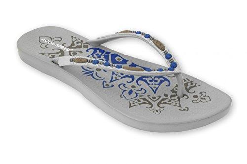 Aqua Speed® Verona Zehentrenner (35-41 Damen Flip Pool + UP®-Schlüsselband), Farbe:Grau;Größe:35
