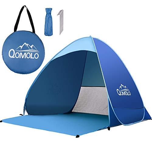 Qomolo Tente de Plage, 2 ou 3 Personne Pop-up Automatique Abris de Plage Anti UV50 +, Portable Montage Tente Instantanée pour Extérieure Camping Plage Pêche Jardin