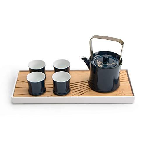 YCDJCS Chinesischer japanischer Vintage Kungfu Gongfu Tee Set Tragbare Reise Teekanne Porzellan Porzellan Keramik Teekanne 2 Teetasse Bambus Tee Fach Teeservice (Color : Blue, Size : 6pcs)
